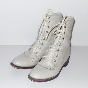 Vintage Justin's Leather Roper Lace Up Boots 6